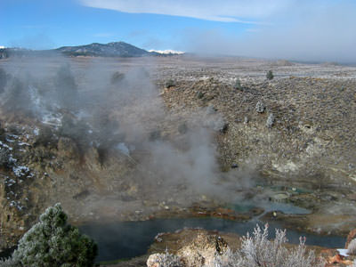 Steam rising from Hot Creek hot spring, near Mammoth