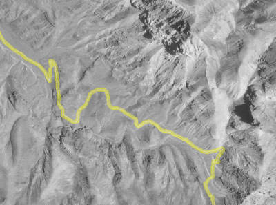 GPS track superimposed on photo of Titus Canyon