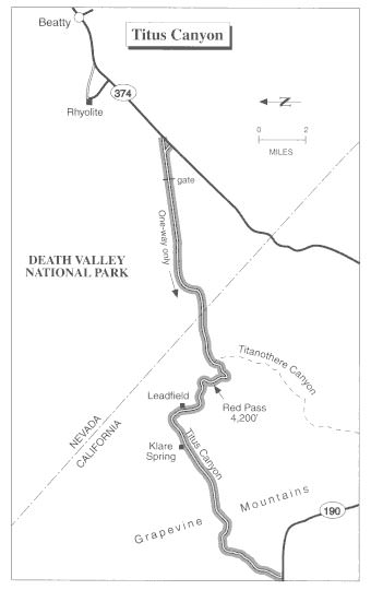map of Titus Canyon and surrounding area