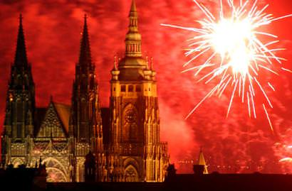 St Vitus Cathedral  and fireworks.