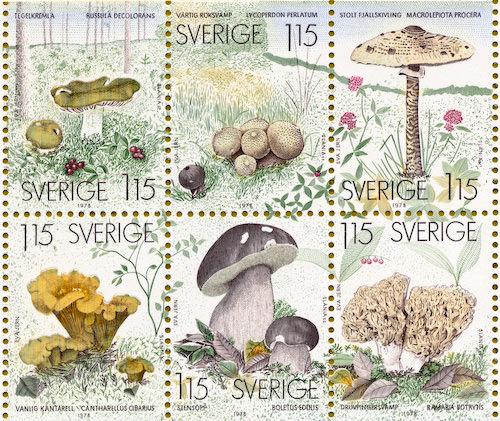 Swedish mushroom stamp